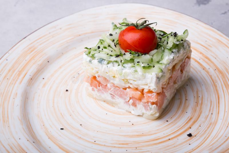 Russian smoked salmon salad on a plate royalty free stock photo