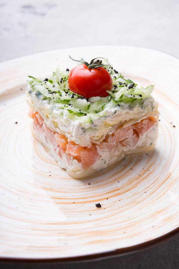 Russian smoked salmon salad on a plate royalty free stock photography