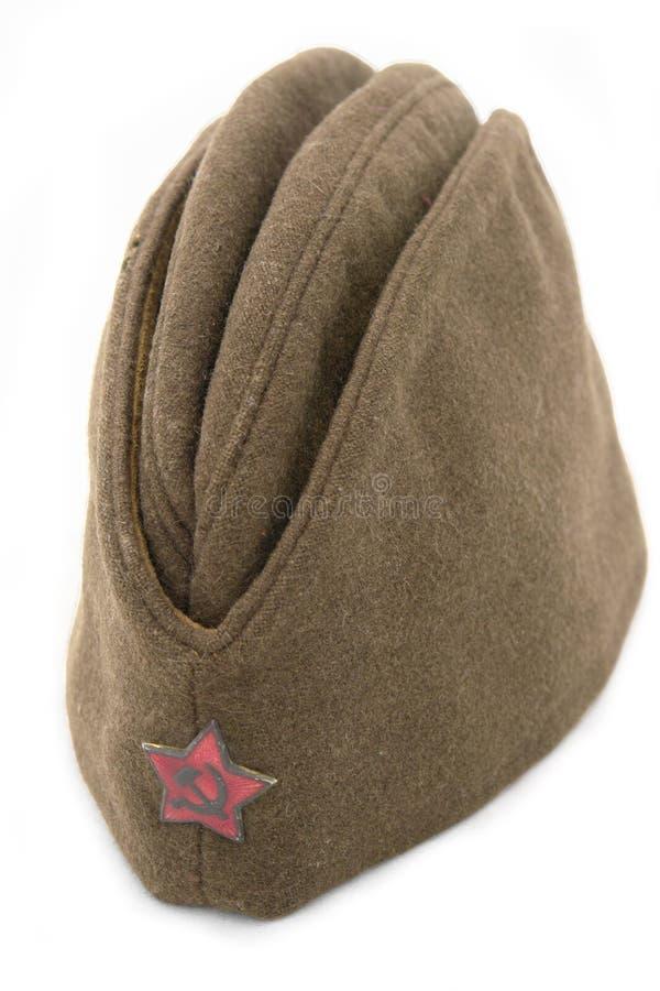 Russian soldier field cap. stock photo