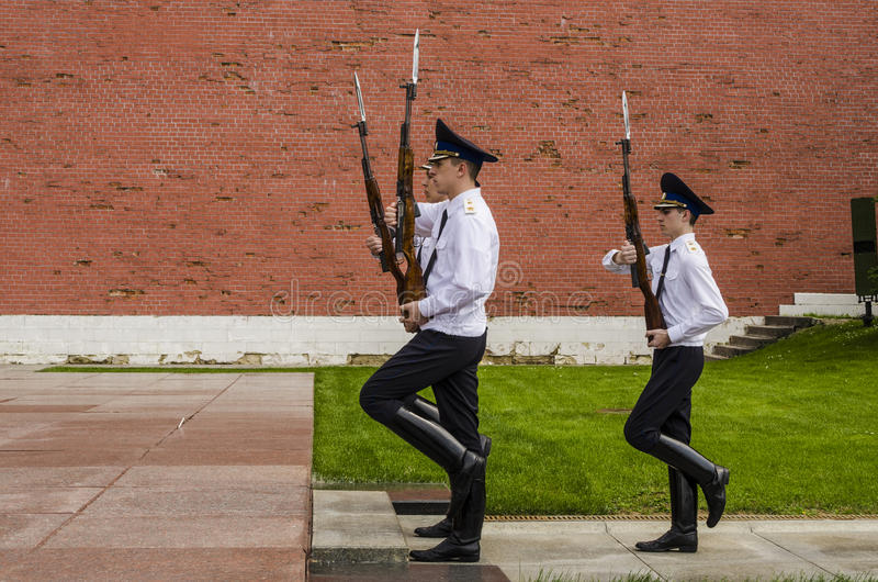 Russian soldier honor guard at the Kremlin wall. Tomb of the Unknown Soldier in Alexander Garden in Moscow. stock photos