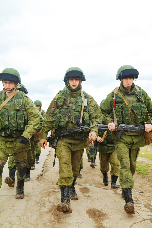Russian soldiers on march in Perevalne, Crimea stock image