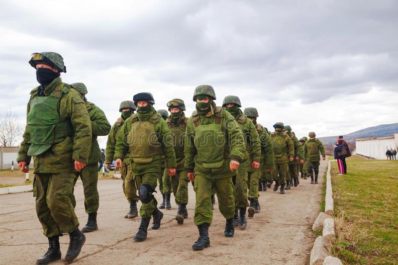 Russian soldiers on march in Perevalne, Crimea royalty free stock photography