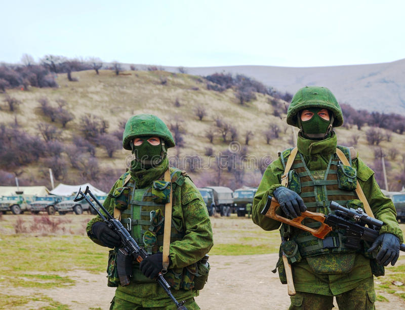 Russian soldiers in Perevalne, Crimea royalty free stock image