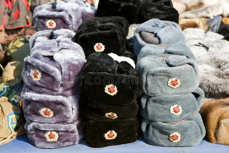 Russian souvenirs - fur hats stock image