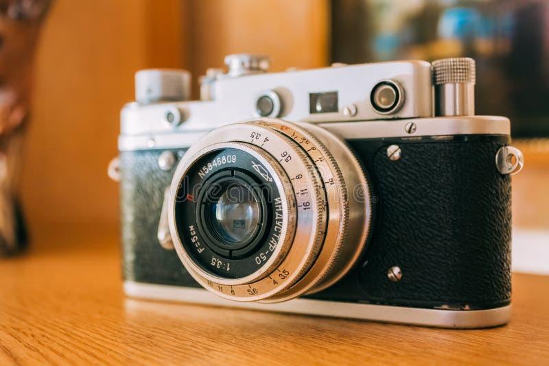 Russian Soviet Vintage Camera Zorkiy 2-S. Small-format rangefinder camera. MINSK, BELARUS - January 18, 2010: Russian Soviet Vintage Camera Zorkiy 2-S. Zorki 2-S royalty free stock images