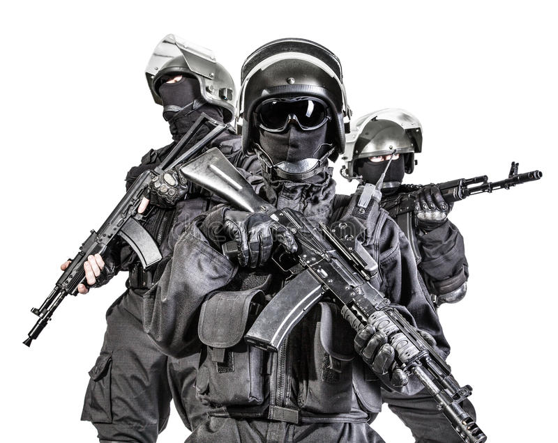 Russian special forces. Operators in black uniform and bulletproof helmets stock photo