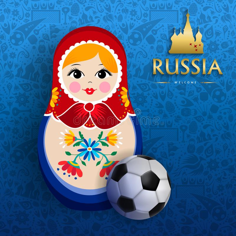 Russian sport event poster of doll and soccer ball stock illustration