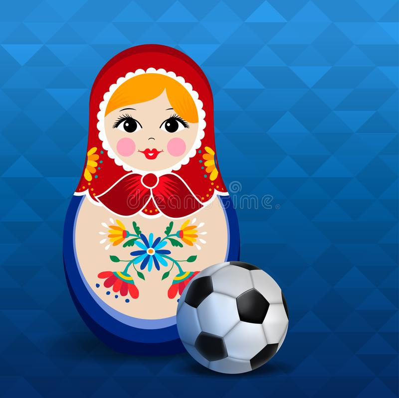Russian sport event poster of doll and soccer ball. Russian doll poster for russia sport event. Traditional matrioska woman souvenir with soccer ball on blue vector illustration