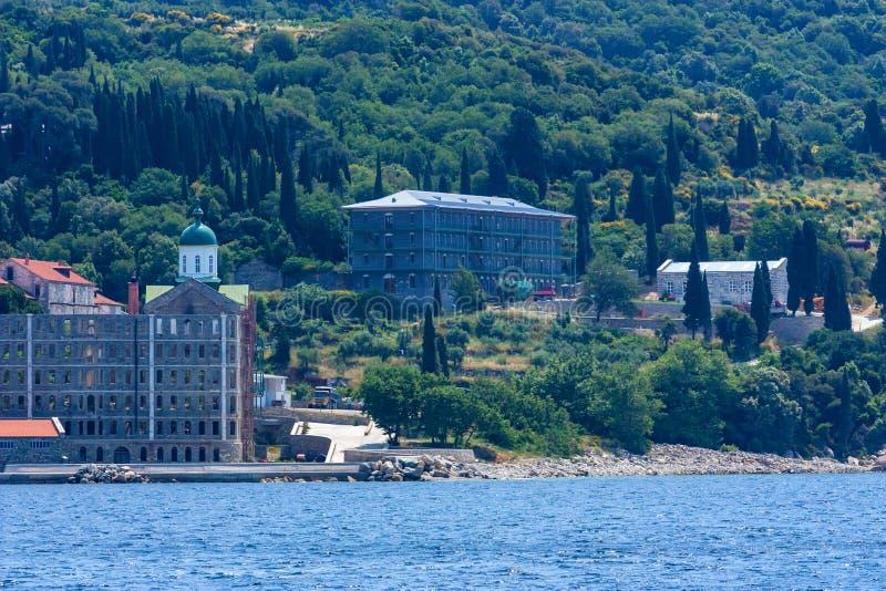 Russian St. Pantaleon monastery at Mount Athos. Russian St. Pantaleon Orthodox monastery known as Rossikon at Mount Athos, Agion Oros or Holy Mountain royalty free stock photo