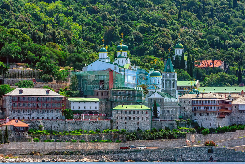 Russian St. Pantaleon monastery at Mount Athos. Russian St. Pantaleon Orthodox monastery known as Rossikon at Mount Athos, Agion Oros or Holy Mountain royalty free stock photography
