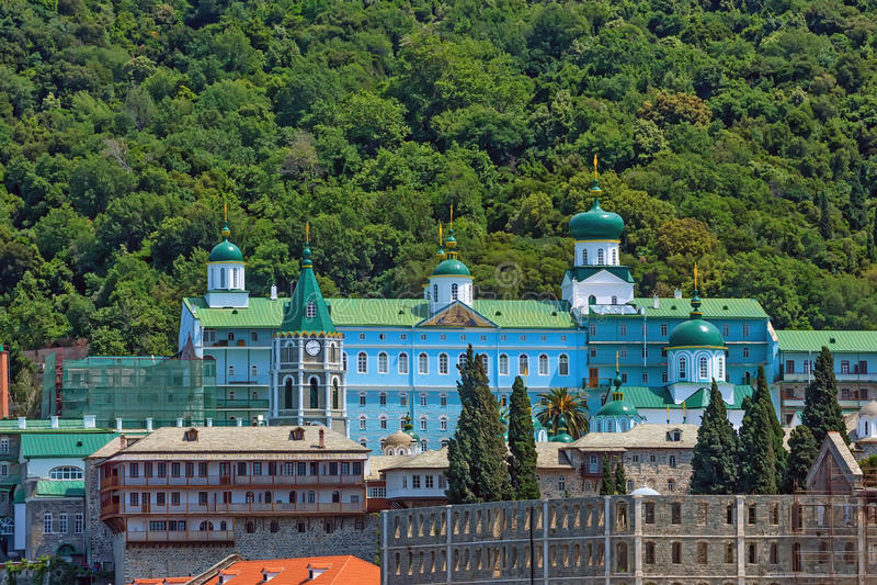 Russian St. Pantaleon monastery at Mount Athos. Russian St. Pantaleon Orthodox monastery known as Rossikon at Mount Athos, Agion Oros or Holy Mountain royalty free stock photos
