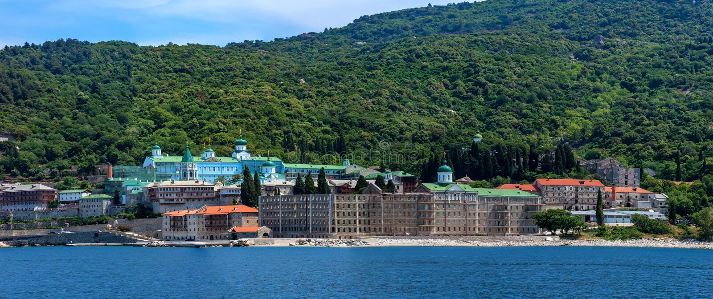 Russian St. Pantaleon monastery at Mount Athos stock photo