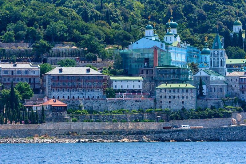 Russian St. Pantaleon monastery at Mount Athos. Russian St. Pantaleon Orthodox monastery known as Rossikon at Mount Athos, Agion Oros or Holy Mountain stock images