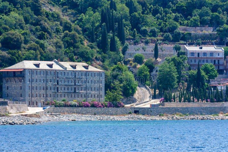 Russian St. Pantaleon monastery at Mount Athos. Russian St. Pantaleon Orthodox monastery known as Rossikon at Mount Athos, Agion Oros or Holy Mountain stock image