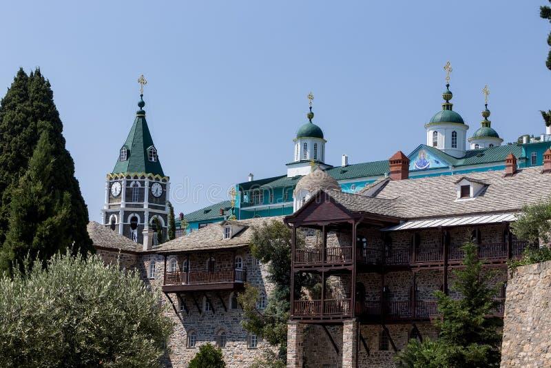 Russian St. Pantaleon Orthodox monastery at Mount Athos. Agion Oros Holy Mountain, Chalkidiki, Greece royalty free stock photos