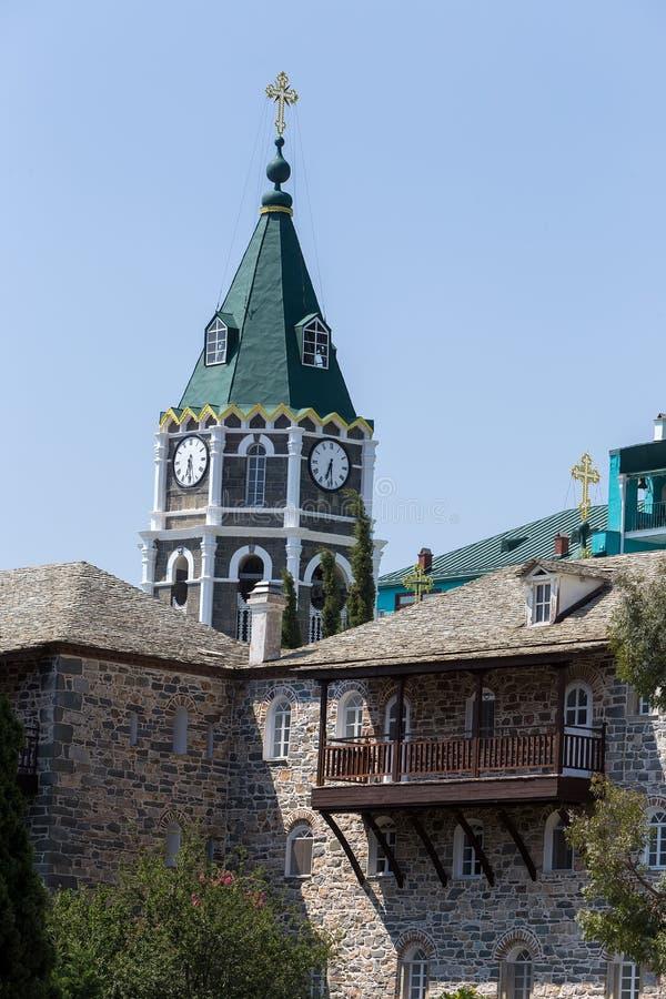 Russian St. Pantaleon Orthodox monastery at Mount Athos. Agion Oros Holy Mountain, Chalkidiki, Greece stock photo