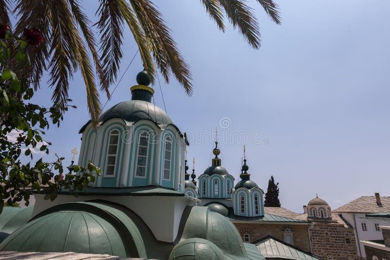 Russian St. Pantaleon Orthodox monastery at Mount Athos. Agion Oros Holy Mountain, Chalkidiki, Greece royalty free stock photography
