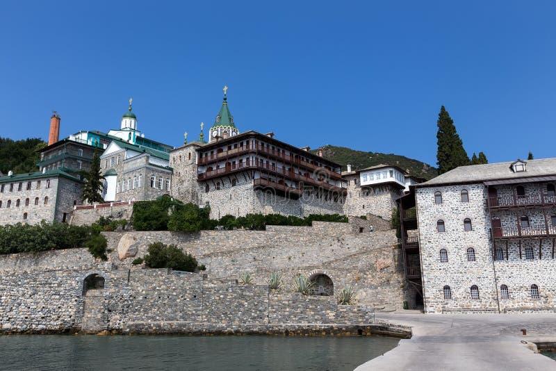 Russian St. Pantaleon Orthodox monastery at Mount Athos. Agion Oros Holy Mountain, Chalkidiki, Greece stock photos