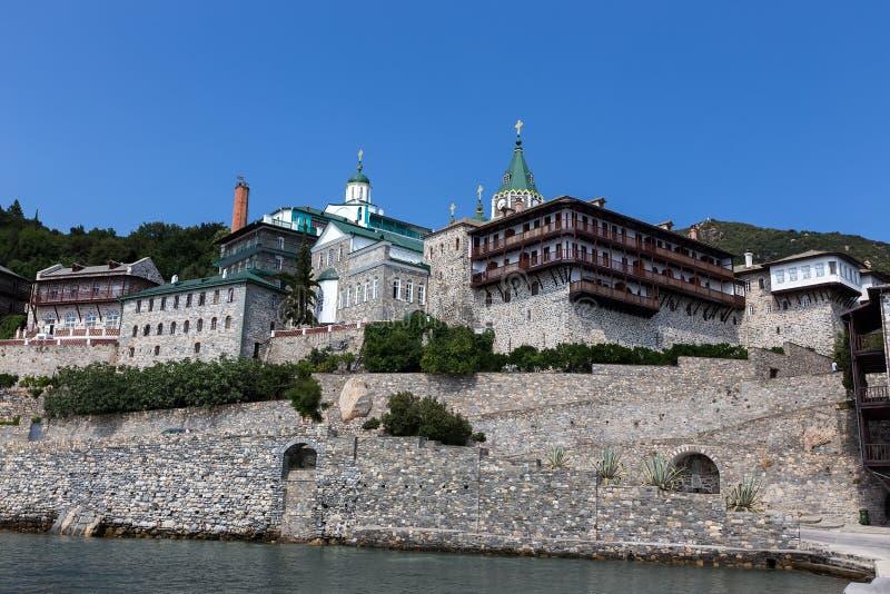 Russian St. Pantaleon Orthodox monastery at Mount Athos. Agion Oros Holy Mountain, Chalkidiki, Greece royalty free stock photo