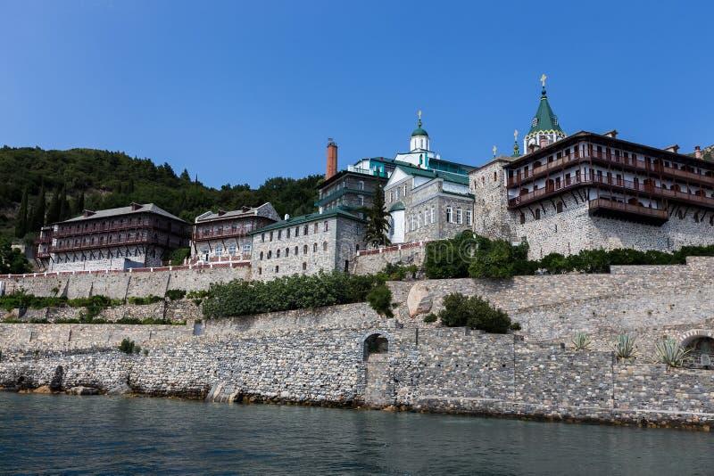Russian St. Pantaleon Orthodox monastery at Mount Athos. Agion Oros Holy Mountain, Chalkidiki, Greece stock images
