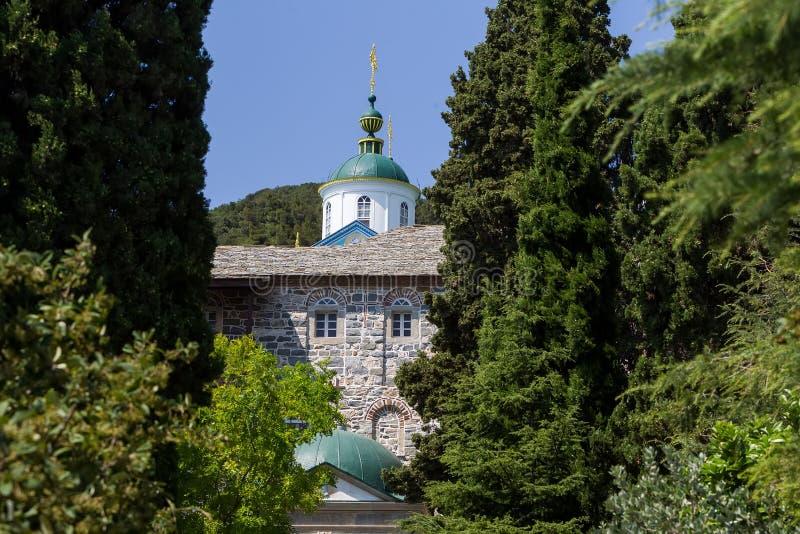 Russian St. Pantaleon Orthodox monastery at Mount Athos. Agion Oros Holy Mountain, Chalkidiki, Greece stock image