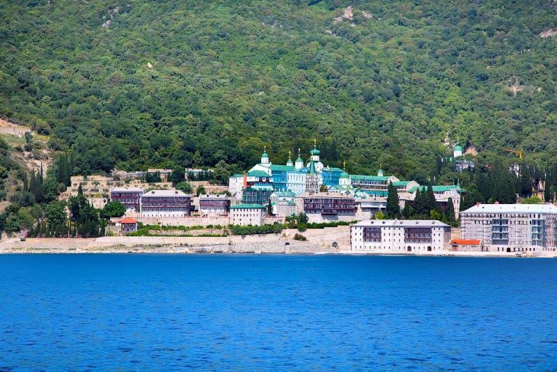 Russian St. Panteleimon Orthodox monastery at Mount Athos, Halkidiki , Greece. Russian St. Panteleimon`s Orthodox monastery at Mount Athos, Agion Oros, Holy stock photography