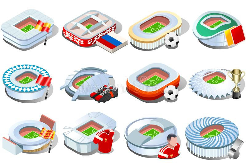 Russian stadium world cup icons. Russia World Cup football stadium icon set collection. Soccer arena infographic game strategy map icons. Landmark vector stock illustration