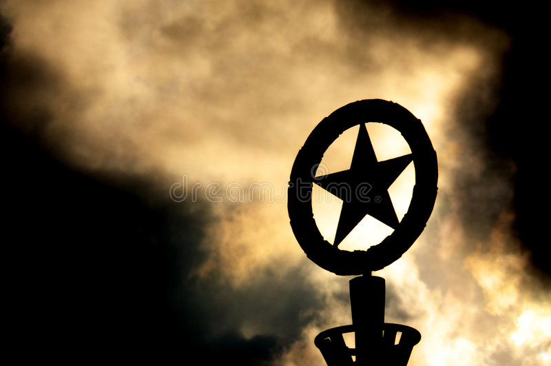 Russian star. On one of lantern royalty free stock photos