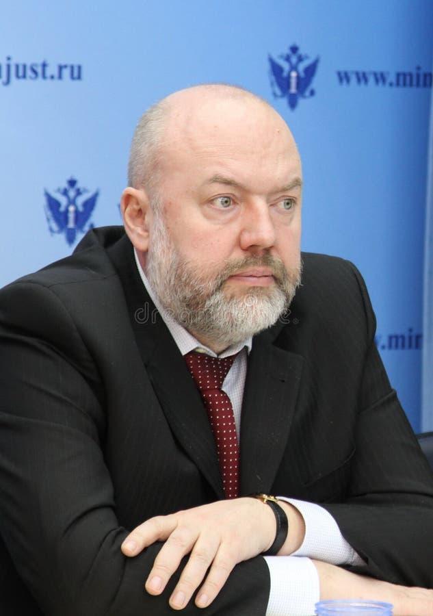 The Russian statesman, Doctor of Law, Professor, State Duma member of the VII convocation Pavel Krasheninnikov. stock image