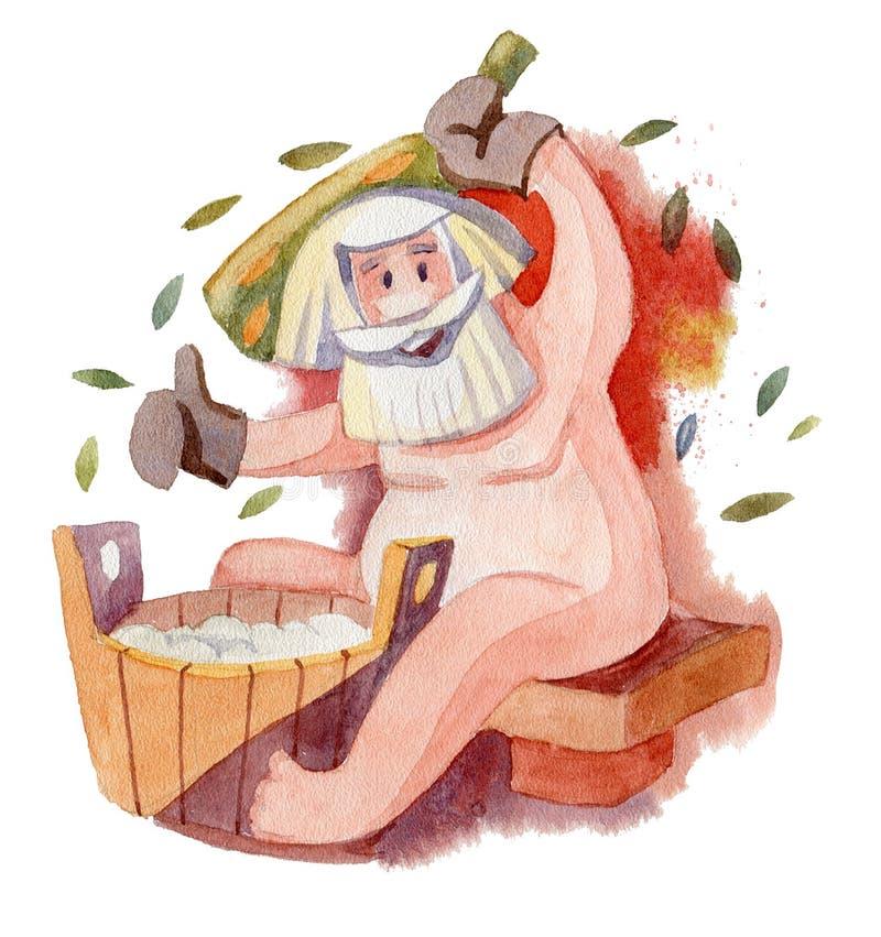 Russian steam bath. Watercolor illustration. Russian bath with a broom