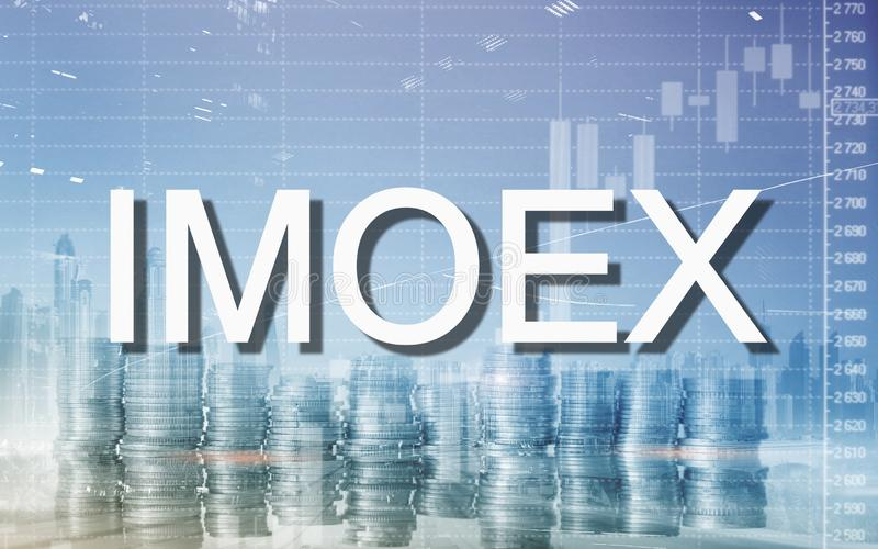Russian stock market index IMOEX. Financial Trading Business concept. Micex.  royalty free stock photos