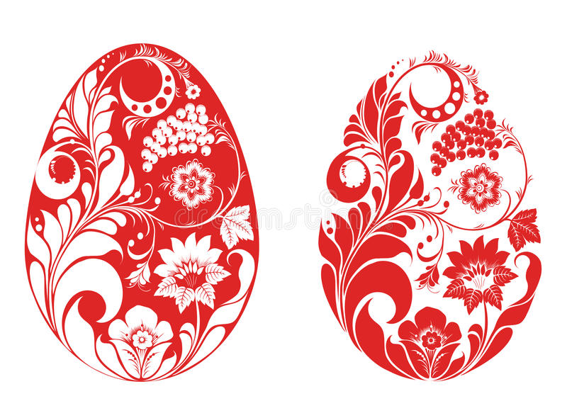Russian style eggs. Red vector eggs decorated in russian style