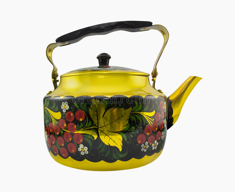 Russian style kettle photo. Isolated golden kettle with russian style decorative elements profile view royalty free stock photography