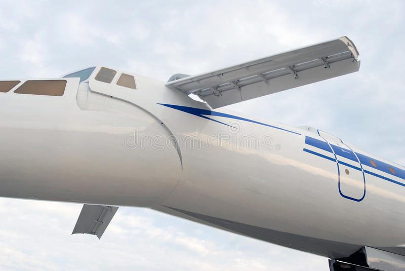Russian supersonic airplane Tupolev Tu-144. stock image