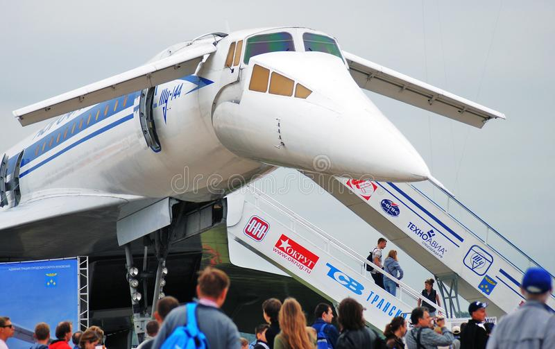 Russian supersonic airplane Tupolev Tu-144. At International Aerospace Salon MAKS-2013. Taken on August 20, 2013 in Zhukovsky, Moscow region, Russia royalty free stock photography