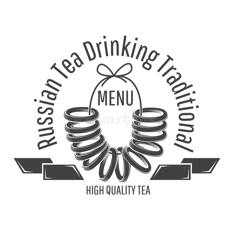 Russian sweet dry bread, doughnut-shaped bread roll on the string. Logo for cafe, teahouse, tea party, bakery. Or business royalty free illustration