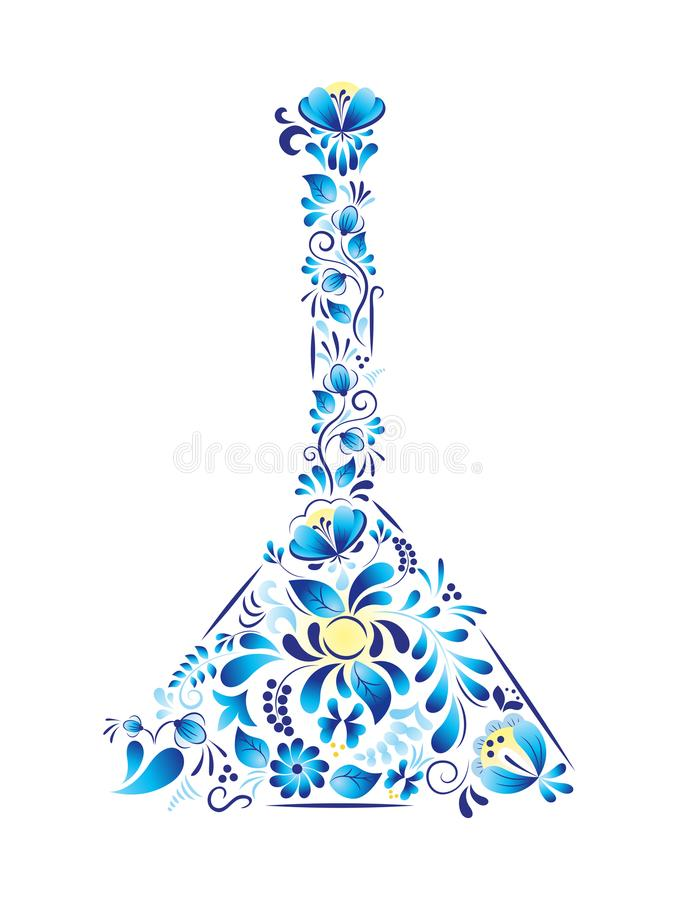 Russian symbol balalaika made in style gzhel. Vector illustration royalty free stock photos
