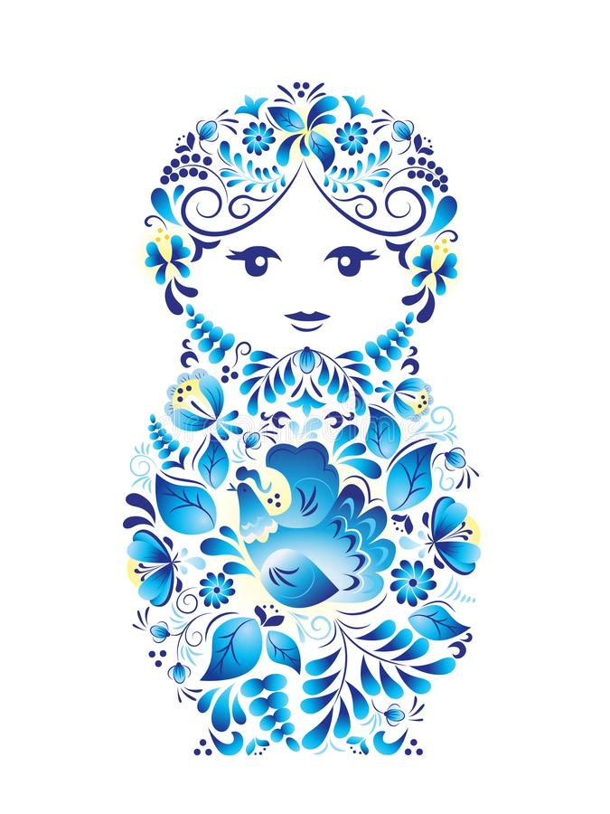 Russian symbol nesting doll made in style gzhel. Vector illustration on white background royalty free stock images