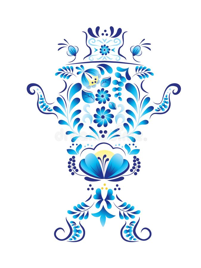 Russian symbol samovar made in style gzhel. Vector illustration stock photos
