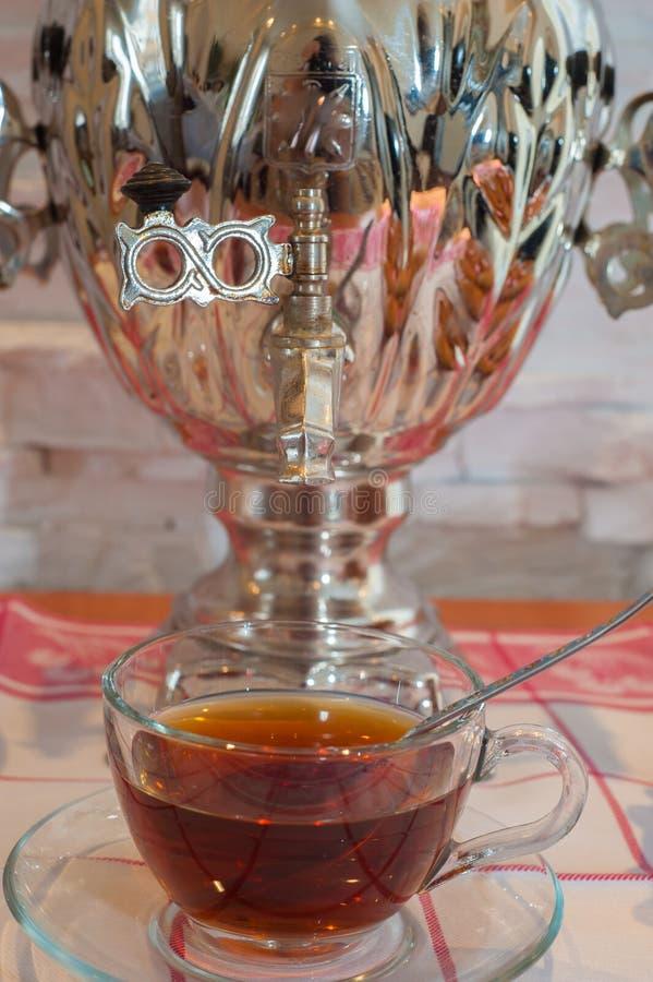 Russian tea samovar evening royalty free stock image