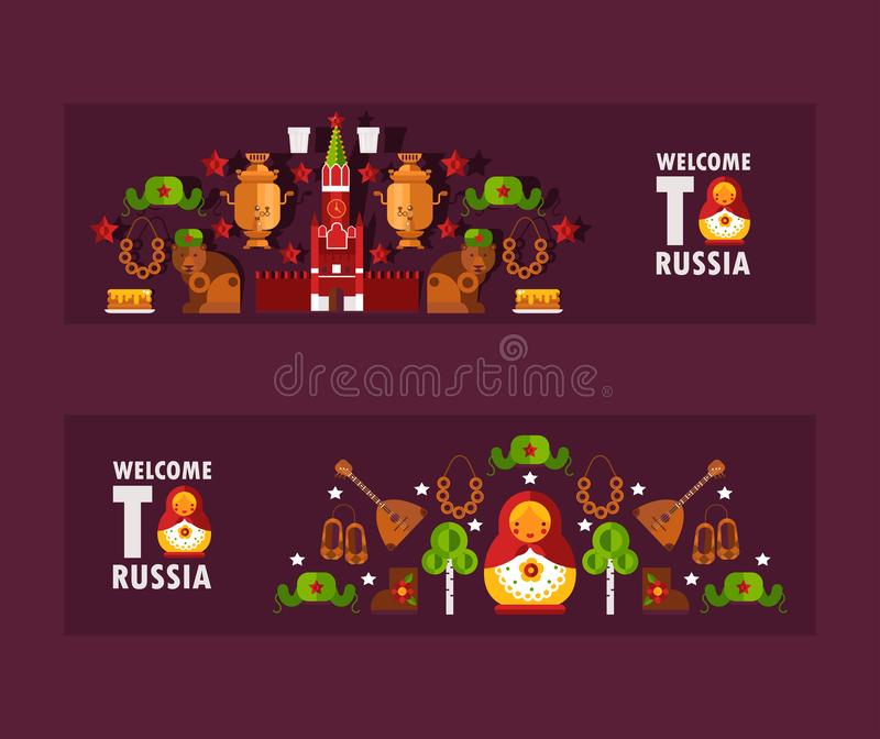 Russian tour information banners, vector illustration. Flat style header welcome to Russia. Travel booklet header with royalty free illustration