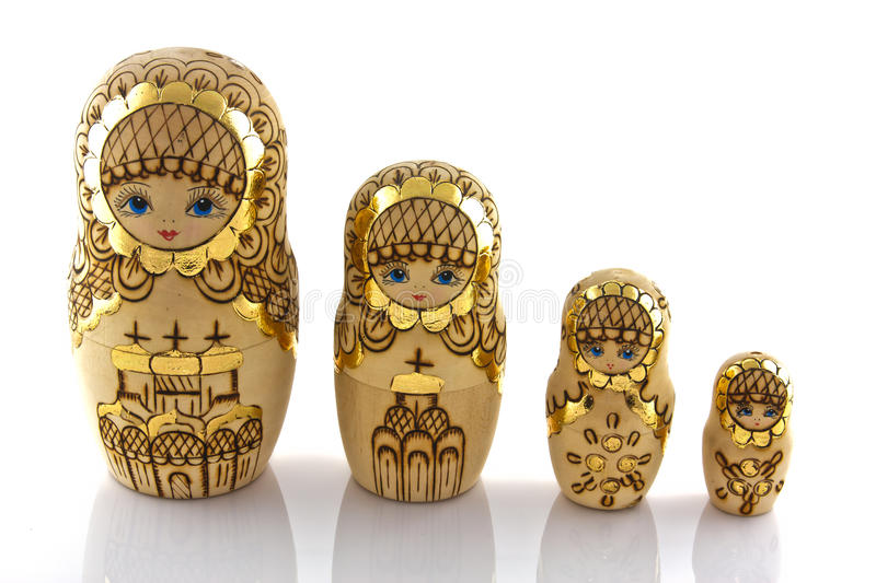 Russian toy isolated on white background. Russian toy wood doll isolated on white background royalty free stock photography
