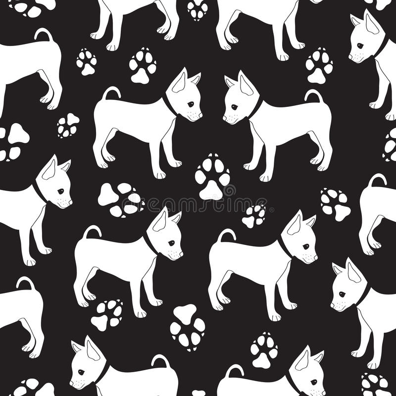 Russian Toy Terrier, seamless pattern with dogs. vector illustration