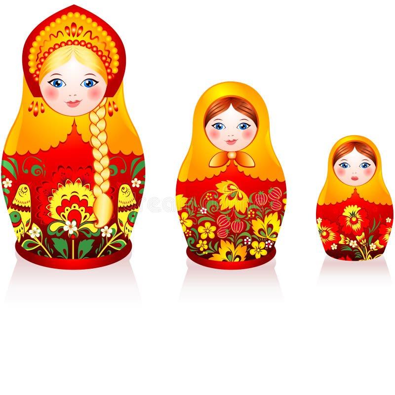 Russian tradition matryoshka dolls. Three Russian tradition matryoshka dolls in hohloma style royalty free illustration