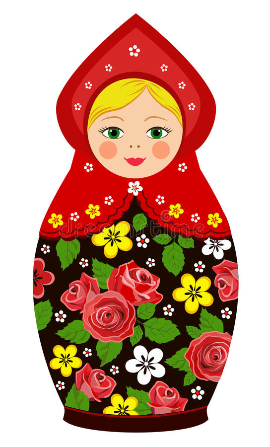 Russian tradition matryoshka dolls. In royalty free illustration