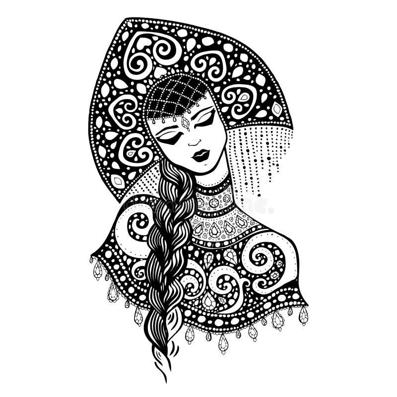 Russian traditional beauty girl. Hand drawn Illustration vector illustration