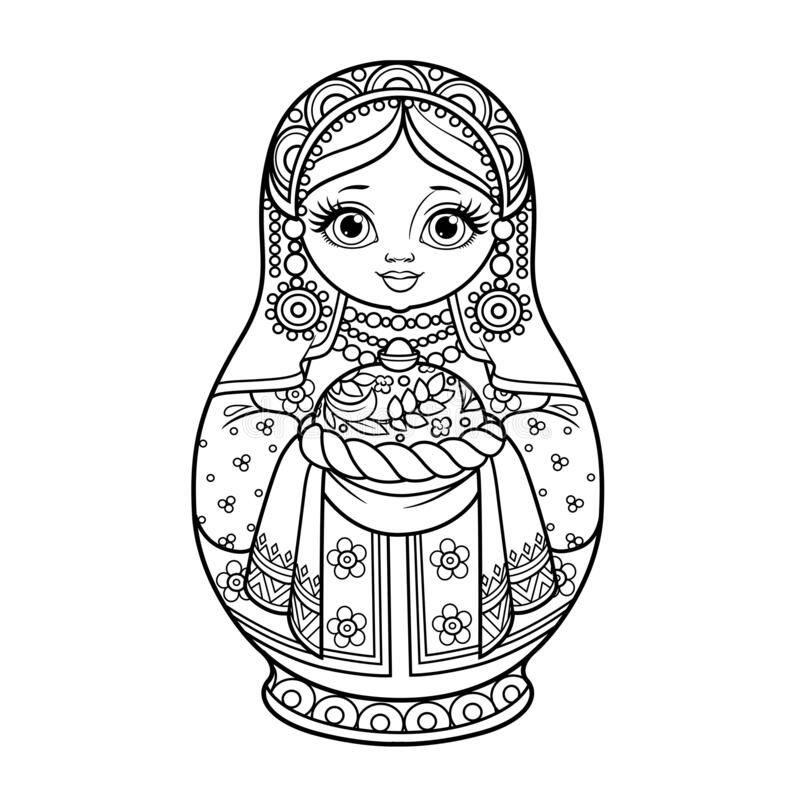 Free Russian Traditional Nest Doll Matrioshka With Loaf With Salt Outline For Coloring On A White Royalty Free Stock Images - 213884579