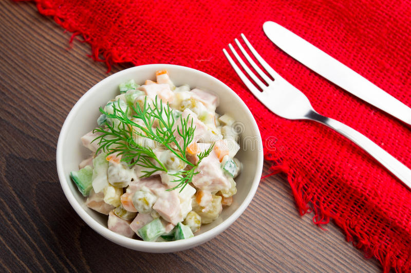 Russian traditional salad stock images