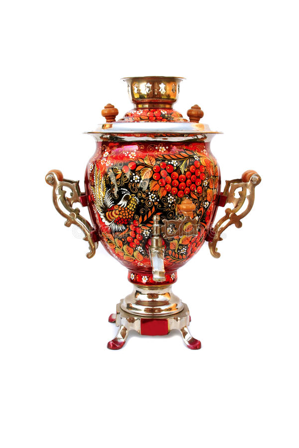 Russian traditional samovar isolated. Red russian traditional samovar isolated stock photos
