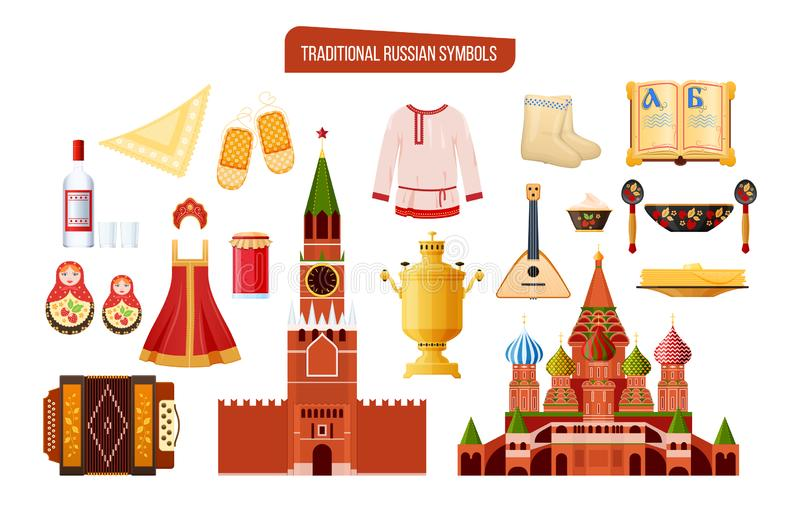 Russian traditional symbols, culture, landmarks. Clothes, food, drinks, architectural buildings. Russian traditional symbols, culture, landmarks. Travel to stock illustration